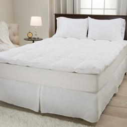 Lavish Home 100% Duck Feather Gusset Bed Topper 2 Inches Baf