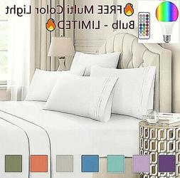 🥇Egyptian Comfort 1800 Count 4 Piece Deep Pocket Soft Bed