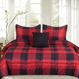 Sweet Home Collection 4 Piece Buffalo Check Comforter Set