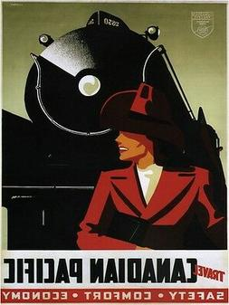 4167.Canadian Pacific. Woman in red.safety.comfort.POSTER.Ho
