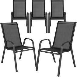 5 Pack Chairs Stack Flex Comfort Metal Frame Home Patio Kitc