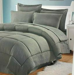 Sweet Home Collection 6 Piece Bed in a Bag w/ Dobby Stripe C