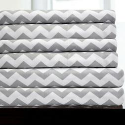 6 Piece Chevron Bedroom Sheet Set 1500 Thread Count Egyptian