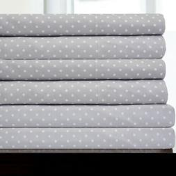 6 Piece Dot Print Bedroom Sheet Set 1500 Thread Count Egypti