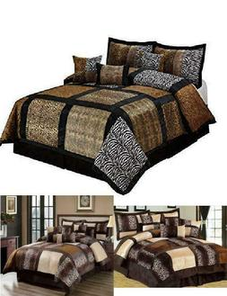 7Piece Comfort Set Leopard Design Cozy Faux Fur Microfiber F