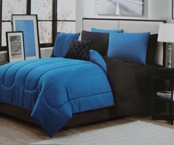 GENEVA HOME FASHION 9 PIECE BLUE REVERSIBLE COMFORTER SET -