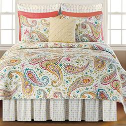 Adalynn Cotton Queen Paisley Quilt with a Splash of Coral Qu