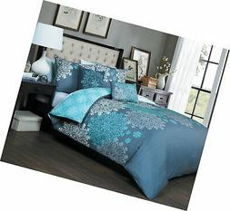 Avondale Manor Amber 5-piece Duvet Cover Set, King, Aqua