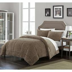 Chic Home Caimani 3 Piece Comforter Set Faux Fur, Brown Size