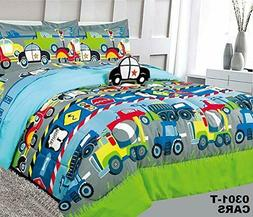 Superior Home Cars Kids Comforter Bedding Set 6 Pc Twin / 8