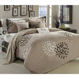 Chic Home Cheila Beige, Silver, Brown 8 Piece Queen Comforte