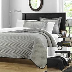 Chic Home 3 Piece Chevron Blocks Palermo Reversible Quilt, Q