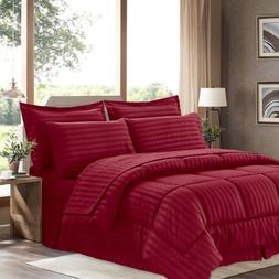 Dobby Stripe Bed In A Bag 8 Piece Comforter Sheet Bed Skirt
