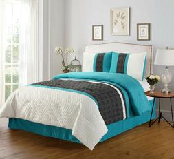 Empire Home Teal/Gray Enas 4-Piece Comforter Set Bed In a Ba