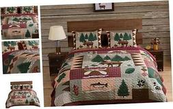 Greenland Home Moose Lodge Quilt Set, Queen, Natural