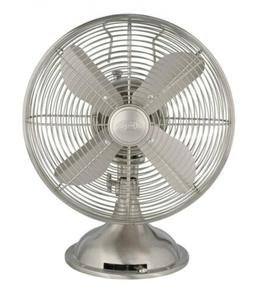"Hunter Home Comfort Retro Table Fan, 12"", Brushed Nickel"