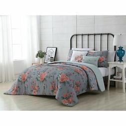 VCNY Home Katherine Reversible Floral Comforter Set Grey/Pin