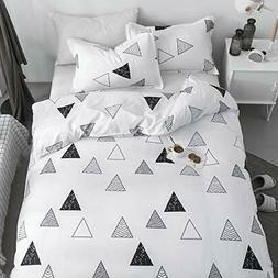 KFZ Duvet Cover Queen Set, 3Piece Geometric Bedding with 1 C