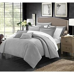Chic Home 7 Piece Khaya Down Alternative Jacquard Striped Co