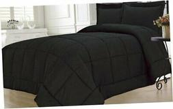 KingLinen Down Alternative 3 Pcs Comforter Set, Queen, Black