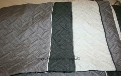 3pc Edgemont Queen Comforter Set Gray White Quilted Neutral