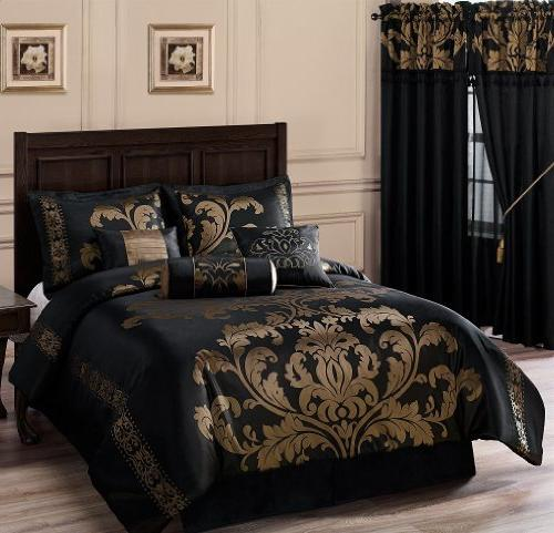 Chezmoi Collection 7-Piece Jacquard Floral Set/Bed-in-a-Bag Set,