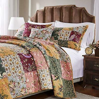 Greenland Cotton Patchwork Set, 5-Piece King/Cal