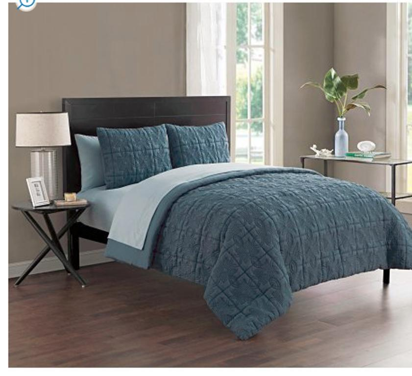 classic embossed 7 piece bed in a