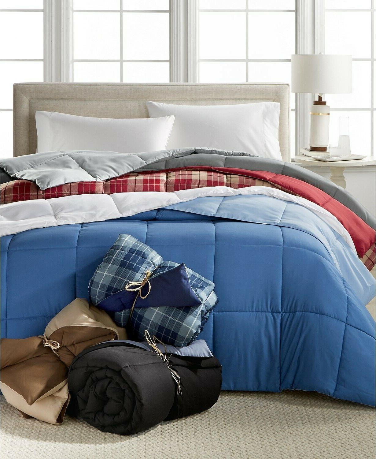 Home Down Hypoallergenic Plaid Comforter - FULL Red