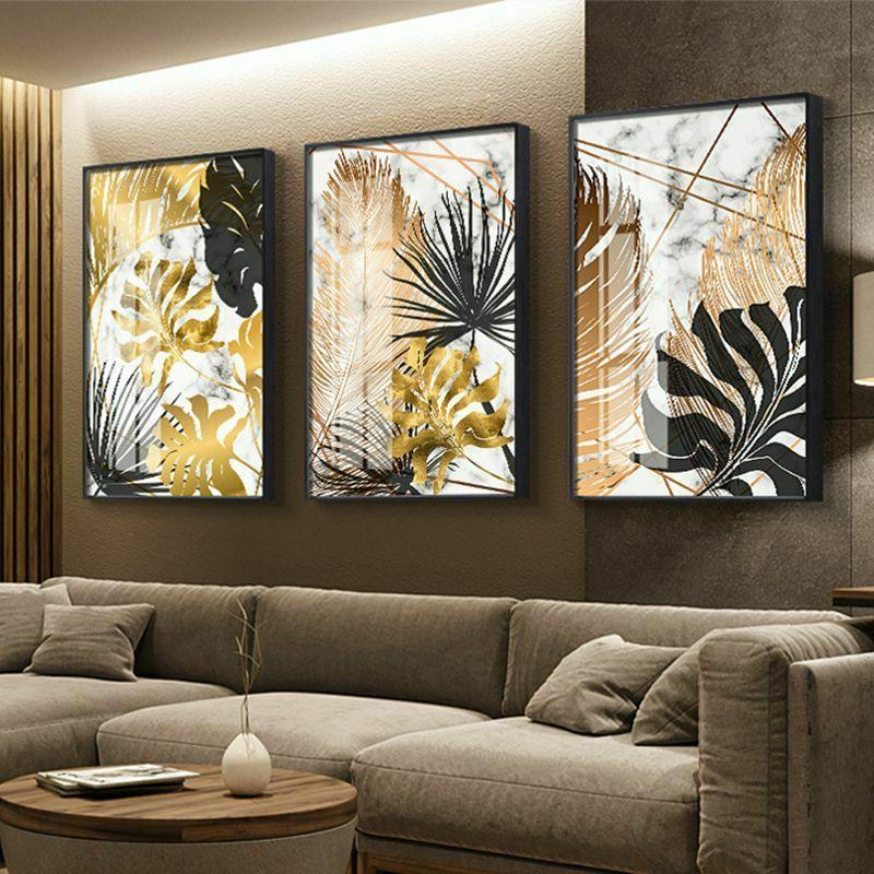 Golden Painting Nordic Posters Modern Room Wall Art Decor
