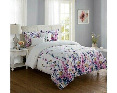 multicolored 4 piece twin xl floral comforter