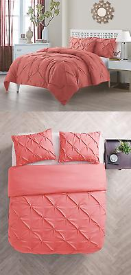 Queen Size Comforter Set in Coral Posh Pintuck 4 Pc Set w/ D