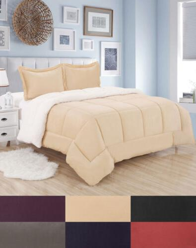sherpa reversible comforter and sham set