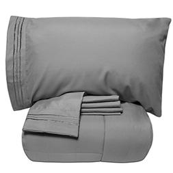 Sweet Home Collection Luxury 5 Piece Bed-in-A-Bag Solid Colo