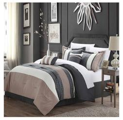 NEW!! 6 PIECE KING SIZE COMFORTER SET GRAY, TAUPE,  OFF WHIT
