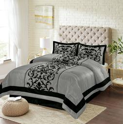 New Empire Home Grey Donna Damask 4-Piece Comforter Set Bed