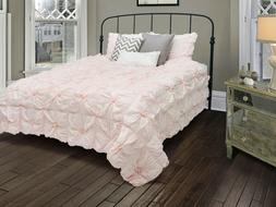 New Rizzy Home Plush Dreams Light Pink Comforter Bed Set Que