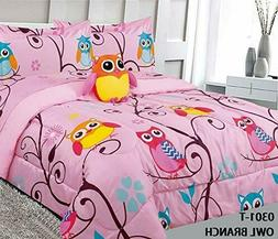 Superior Home Owl Kids Comforter Bedding Set 6 Pc Twin / 8 P
