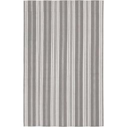 3.5' x 5.5' Pleasant Comfort Striped Flint Gray and White Wo