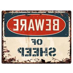 PP1334 Beware of SHEEP Plate Rustic Chic Sign Home Room Stor