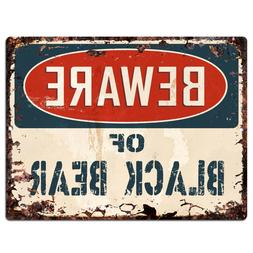 PP1820 Beware of BLACK BEAR Plate Rustic Chic Sign Home Stor