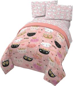 Jay Franco Purrrfect 5 Piece Full Bed Set - Includes Comfort