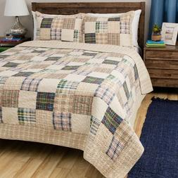 Quilt Set Twin Size Comforter Cotton Bedding Bed Cover Tan B