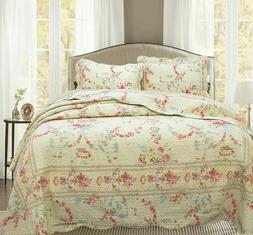 Rose Romance Quilt Comforter and Pillow Sham