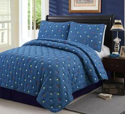 Cozy Line Home Fashions Stars Navy Blue Soft Comforter Set f