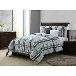 VCNY Home Maxwell Plaid 5 Piece Bedding Comforter Set, Full/